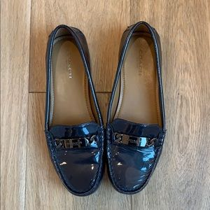 Coach patent navy loafers